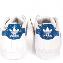 Adidas Super Star 3 Streifen Ray Blue Schuhe mit Strass