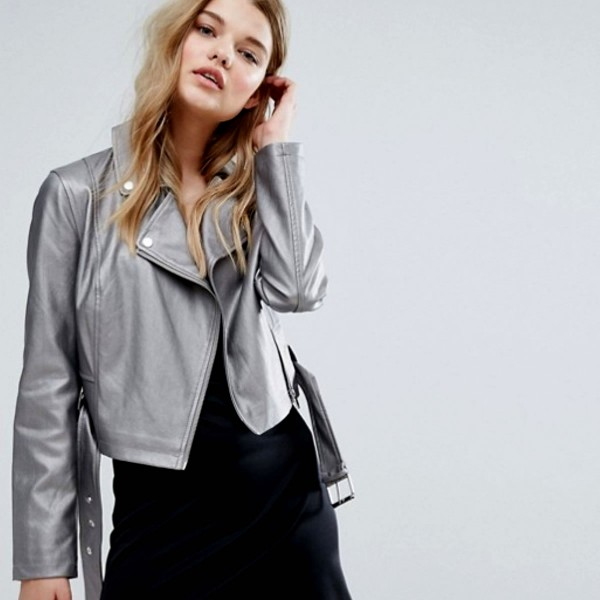 Women's eco-leather jacket with patches and crystals