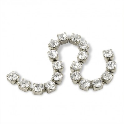 METAL CHAIN SS12 (3,5 mm) CRYSTAL-ARGENTO-1MT